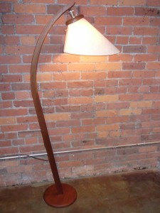 Spectacular Mid-century modern teak arc floor lamp with it&#039;s original shade - stands - 61.75&quot; tall - (SOLD)