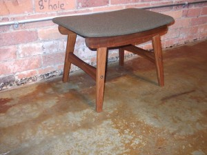 "Handsome Mid-century Danish foot stool - newly re-upholstered - who doesn't need a cool foot stool ;) - 20.25""x 14"" x 14"" - (SOLD)"