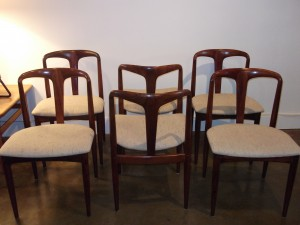 Gorgeous set of 4 Rosewood dining chairs by Bernhard Pedersen & Son - Denmark - model #142 - freshly upholstered in a lovely off white wool - excellent condition - $1200/set
