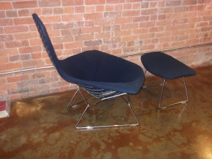 "WOWZA!! Original ""Bird chair & ottoman"" designed by Harry Bertoia for Knoll - design year 1952 - welded steel rod with dark navy blue upholstery - all original and in excellent condition - (SOLD)"