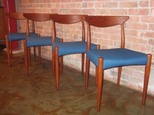Outstanding set of 4 teak dining chairs - designed by Arne Hovmand-Olsen for Mogens Kold - Denmark - circa 1960's - completely restored - new straps, foam & a gorgeous blue upholstery fabric - gorgeous grain in the wood and color - makers label still intact - (SOLD)