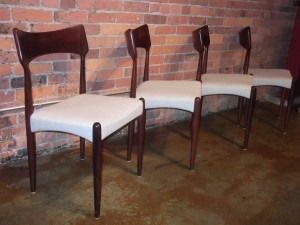 Gorgeous set of 4 Rosewood dining chairs by Bernhard Pedersen & Son – Denmark – model #142 – freshly upholstered in a lovely off white wool – excellent condition – $1200/set