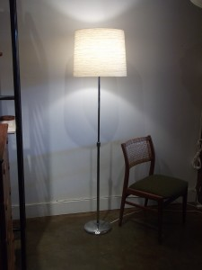 Chrome retractable floor lamp with a Large Lotte shade,these lamps were sold by Lotte in the seventies - (SOLD)