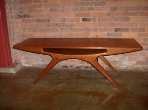 "Rare sculptural teak coffee table designed by Johannes Andersen for CFC Silkeborg measures 59""L X 20.5""D X 19.5"" H (SOLD)"
