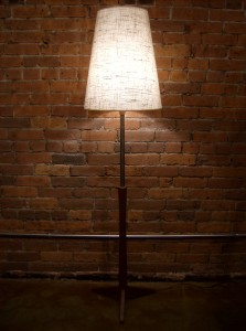 Gorgeous Mid-century modern teak floor lamp with partial coil neck - incredibly unique - what a glow!! - stands 64&quot;H - (SOLD)