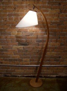 Stunning 1960&#039;s Danish teak floor lamp with custom new original shade - excellent condition - perfect for any Mid-century modern setting home/or office - this stunner stands 61&quot; tall - (SOLD)