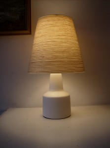 Gorgeous 1960&#039;s ceramic lamp w/original shade designed by Lotte &amp;Gunnar Bostlund - lovely white ceramic with a natural jute/fiberglass shade - perfect for a bed side lamp or where ever, these beauties look great anywhere -stands -17&quot;tall - (SOLD)