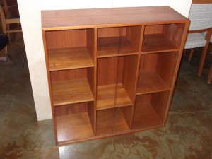 Quality Mid-century modern teak Danish bookcase w/glass sliders - adjustable shelves - nice size - excellent condition - (SOLD)