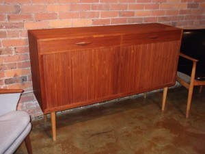 "Outstanding Mid-century modern teak credenza - very nice quality - tambour doors (always a favorite) - lovely dovetailed drawers, and spectacular beech inside - ask for pics - very good vintage condition - 58""L x 16.5""D x 36.25""H - (SOLD)"