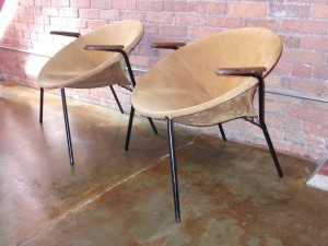 Outstanding pair of 1950's Hans Olsen easy chairs for Bramin - a super RARE find - original suede covering - cool metal splayed legs - and sweet wood arms - great vintage condition - (SOLD)