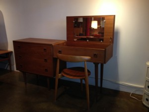 "Fabulous 1960's teak vanity with 3 drawers - spectacular condition, lovely patina - use as a vanity or re-purpose as a desk - the inside of the side with the mirror has lovely sold wood dividers - this lovely piece with it's many uses measures - 63.5""L x 16.25""D x 32""H - (SOLD)"