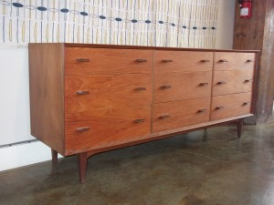 "Gorgeous Mid-century modern teak 9 drawer dresser - quality craftsmanship - lovely secondary woods - it's a beauty - excellent vintage condition - 6ft L x 19""D x 29.5""H - (SOLD)"