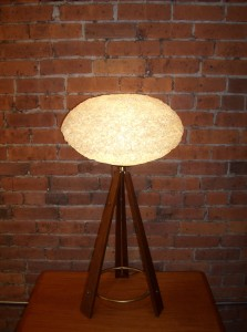 Outstanding Mid-century modern/Atomic 3 legged table lamp - wood and metal base with a spun acrylic oval shade - WOW - this beauty just glows - see matching floor lamp - - stands - 32&quot;H x 16.5&quot; widest point - (SOLD)