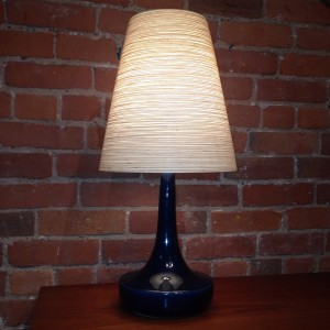 "Vintage Lotte table lamp with original shade & finial - beautiful cobalt blue glaze - this beauty stands - 23.25""H - (SOLD)"