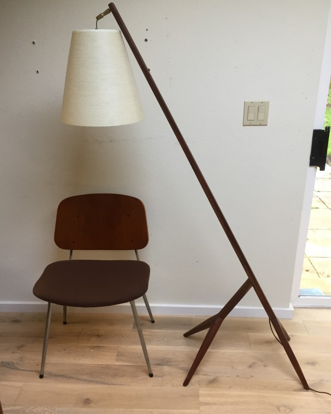 "Outstanding ONE OF A KIND - solid wood floor lamp - we call it the ""giraffe"" re-purposed from Vintage wood - comes with a gorgeous complimentary vintage fiberglass shade by Lotte and Gunnar Bostlund - $775"