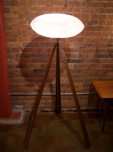 Outstanding Mid-century modern/Atomic 3 legged floor lamp - see the matching table lamp for more info - - this lamp stands - 53&quot;tall x 32&quot; at the widest point - very well made - A must see - (SOLD)