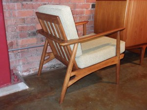 Outstanding & super unique Mid-century modern easy chair - new foam with gorgeous new upholstery -(SOLD)