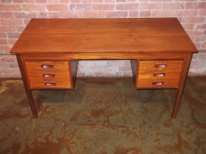 "Gorgeous Mid-century modern 2 tone teak desk - quality features including - lovely dovetailed drawers and a finished back so one can float in the in the middle of a room if space is not an issue -53.5""L x 23.5""D x 28.75""H (SOLD)"