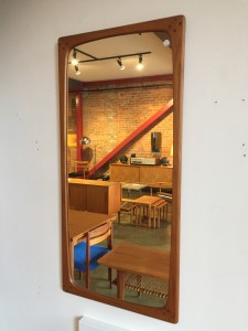 Incredible 1960's MCM solid teak framed mirror with lovely dowel detailed in the corners - would make a lovely addition to your entry way and or bathroom and or bedroom - $500