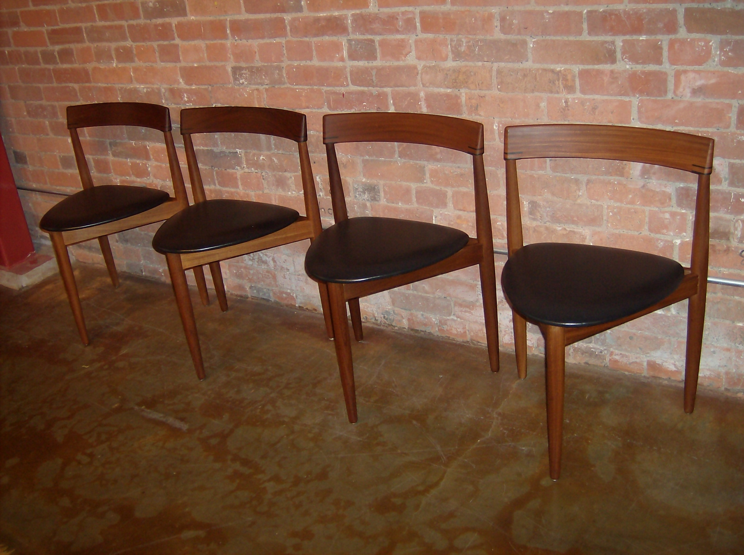 the fabulous find  mid century modern furniture showroom in  - gorgeous set of  teak  legged dining chairs designed by hans olsen forfrem rojle