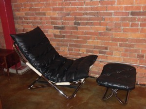 Fabulous Vintage chrome and black naugahyde folding lounge chair and ottoman - made in Sweden - newly upholstered - super duper comfy - $650