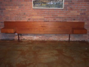 "Handsome Mid-century modern teak King size headboard with floating end tables - a Rare Find - nice vintage condition - measures - 10 feet long x 32"" H - (SOLD)"