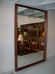 "Gorgeous Mid-century modern teak mirror - fantastic dark patina - great condition - measures - 25"" x 35.5"" x 1.5"" - $195"