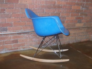 Outstanding Vintage Eames fiberglass bucket arm chair - manufactured by Herman Miller - RARE BLUE - on a new rocker base - (SOLD)