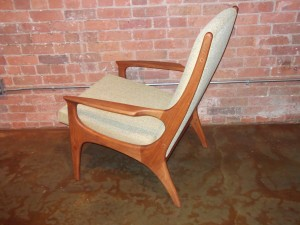 Spectacular Mid-century modern teak high back lounge chair - fantastic design - super comfortable - new foam & upholstery - - $950 ( check out the matching rocking chair