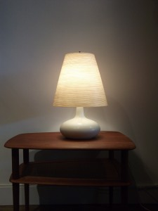 "Gorgeous Vintage Off White Ceramic lamp by Lotte & Gunnar Bostlund - comes with it's original fiberglass shade - this beauty stands - 20""H - (SOLD)"