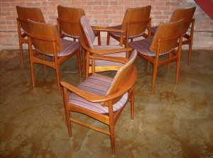 Exceptional set of 8 Danish teak dining chairs – 6 side chairs and 2 arm chairs – immaculate condition – $1,950/set