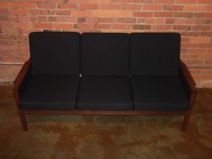 "Gorgeous Classic 1960's Danish modern teak 3 seater sofa - very similar to one of Illum Wikkelso's designs - this beauty has all new foam & upholstery - measures - 69""L x25.5""D x 32""BH x 16""SH - (SOLD)"