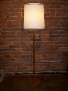 Handsome 1960&#039;s Danish teak floor lamp - metal banding detailing - nice neutral period shade - fantastic condition - stands - 57.5&quot;H - (SOLD)
