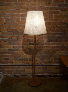 Incredible Danish teak floor lamp - nice detailing around the middle - fantastic quality - weighted bottom - gorgeous shade - excellent condition - stands - 57.75&quot;H - $225