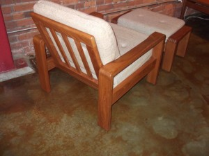 Handsome 1970's Danish modern solid teak easy chair & ottoman excellent original vintage condition & oh so comfortable - see matching chair & loveseat - $750