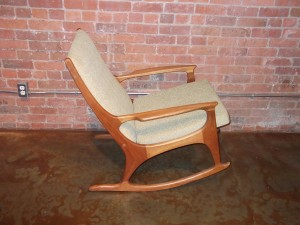 Spectacular Mid-century modern teak rocking chair -gorgeous frame – new foam & upholstery – this is one comfy rocking chair – super relaxing – $1095