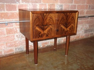 "Gorgeous Mid-century rosewood 2 drawer end table - stunning grain pattern - lovely condition - measures - 17.75""L x 11.75""D x 17.75""H - SOLD"
