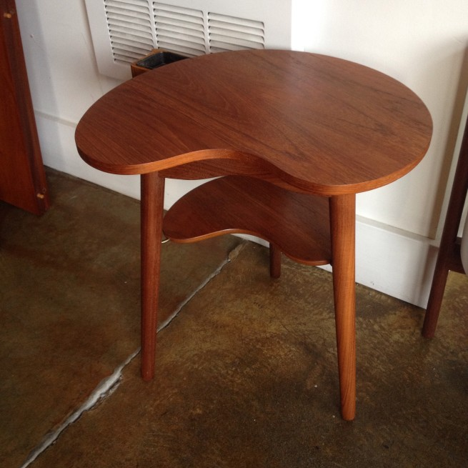 "Fabulous/Unique and quite Rare Mid-century Danish 2 tier Teak Kidney shape drink table with swing out ashtray or stash tray:) this cutie stands 16""diameter x 17'H - (SOLD)"