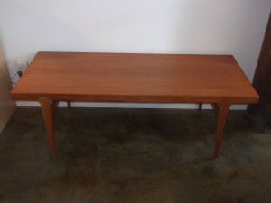 "Spectacular Mid-century modern teak coffee table by Danish company Dyrlund - incredible unique leg structure - newly refinished - 59""L x 23.5""D x 20""H - $750"