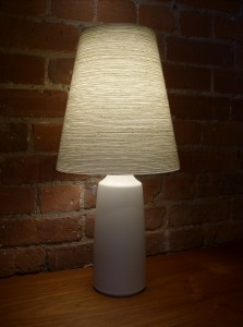 1960&#039;s ceramic lamp (off white) designed by Lotte and Gunnar Bostlund - comes with it&#039;s original fiberglass with impregnated yarn - great condition - stands 20&quot; tall - (SOLD)