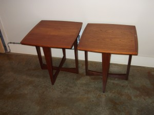 "Great pair of stylish Danish teak end tables,they measure 20"" X 20"" X 20"" (SOLD)"