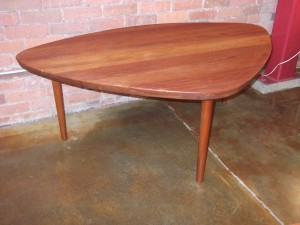 "Outstanding solid teak Mid-century modern triangular coffee table - fantastic design, construction and condition - this rare beauty measures - 54.5""L x 36.75""D x 20""H - SOLD"