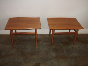 "Gorgeous pair of teak end tables designed by Grete Jalk for Glostrup -Denmark - circa 1960's - label still intact - fantastic craftsmanship - very good vintage condition - these beauties measure -27.5""L x 20""D x 19""H -(SOLD)"