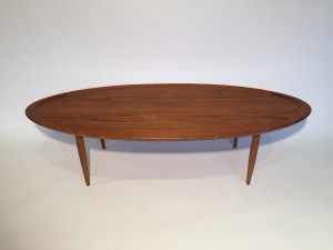 "Handsome Mid-century modern teak square end table/ coffee table - manufactured by famed Danish company France & Son - lovely details with the brass fittings and concave top of the legs, it makes the top appear to be floating - newly re-finished- -35.5""square x 16""H$600"