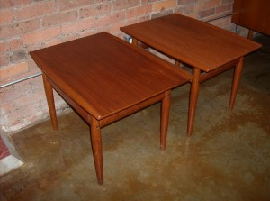 "Gorgeous pair of Danish teak end tables - designed by Grete Jalk - Denmark - 1960's - excellent condition - measure - 27.5""L x 19.5""W x 19.25""H - (SOLD)"