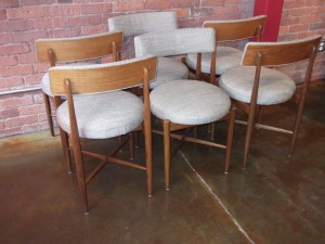 Gorgeous set of 6 Mid-century modern dining chairs designed by Ib Kofod Larsen for G-Plan - made in the UK - recently re-upholstered in a gorgeous fabric - incredibly comfortable - and in excellent condition - (SOLD)