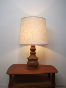 "Gorgeous Mid-century modern solid teak lamp w/original vintage shade - this beauty stands 29.5"" tall including the shade x 16.5""diameter (shade) - (SOLD)"