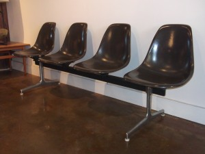 "Original Vintage Eames 4 seater tandem bench for Herman Miller - spectacular charcoal grey fiberglass seats in very good vintage condition - perfect for an office space/architect firm/ the entrance of your Mid-century modern home - many uses - measures - 87.25""l - $900 - 3 available"