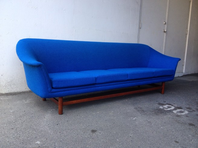 Scandinavian sofa reupholstered in high quality Kvadrat fabric $3,500