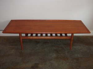 "Stunning Mid-century modern teak 2 tier coffee table - designed by Grete Jalk for Glostrup - newly refinished - excellent condition - this beauty measures - 63.25""L x 24""D x 17.5""H - SOLD"
